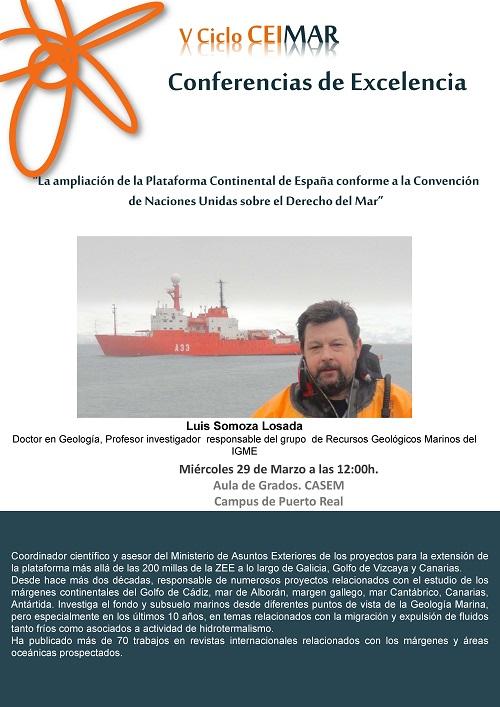 """Conferencia de Excelencia CEIMAR: """"La ampliacion de la Plataforma Continental de España conforme a la Convencion de Naciones Unidas sobre el Derecho del Mar"""""""