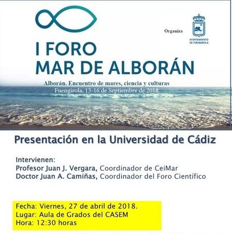 Presentación I Foro Mar de Alborán. Encuentro de mares, ciencia y cultura.