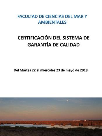 Certificación del Sistema de Garantía de Calidad de la Facultad de Ciencias del Mar y Ambientales