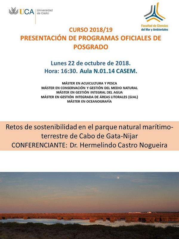 PRESENTACIÓN MÁSTERES DE LA FACULTAD DE CIENCIAS DEL MAR Y AMBIENTALES. CURSO 2018-19