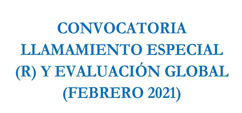 Plazo de comunicación de coincidencias de exámen y de solicitud de Evaluación Global del 23 de noviembre al 2 de diciembre